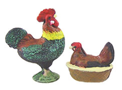 Dollhouse Miniature Hen & Rooster Banty Painted