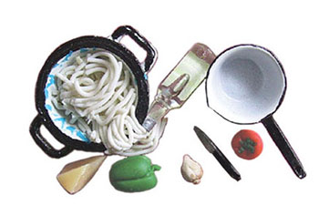 Dollhouse Miniature Spaghetti In Colander with Pan & Accessories