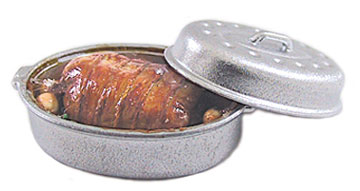Dollhouse Miniature Pot Roast In Silver Roaster