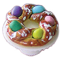 Dollhouse Miniature Easter Bread Ring On Stand