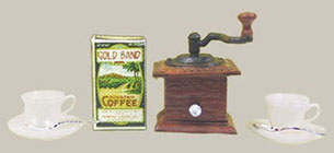 Dollhouse Miniature Coffee Grinder-2 Cups/Saucers/Spoons/Coffee