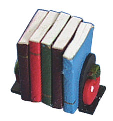 Dollhouse Miniature Apple Bookends with Books