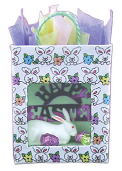 Dollhouse Miniature Easter Bag W/Bunny & Eggs