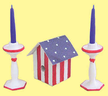 Dollhouse Miniature Birdhouse & Candlesticks Red/White/Blue