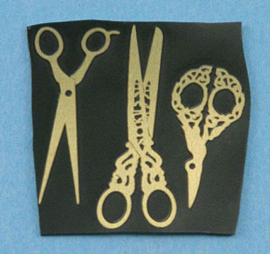 Dollhouse Miniature Brass Non-Working Scissor Assortment 1 Set