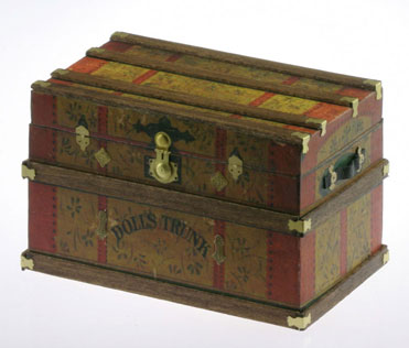 Dollhouse Miniature Lithograph Wooden Trunk Kit, Dolls Trunk