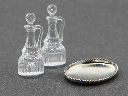 Dollhouse Miniature Oil & Vinegar Cruets, 2 Pcs