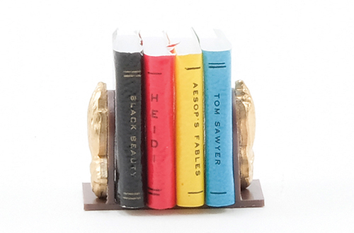 Dollhouse Miniature Bookends With Books (4 Books)