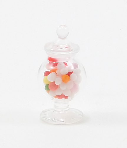Dollhouse Miniature Footed. Glass Apothecary Candy Jar
