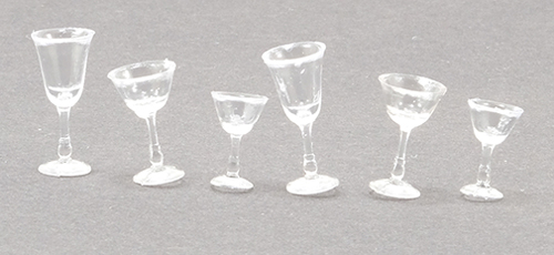 Dollhouse Miniature Stemware, Clear Plain, 6/Pc