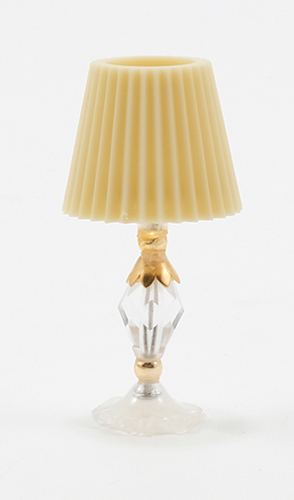 Dollhouse Miniature Crystal Table Lamp W/Gold Trim