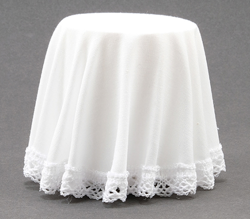 Dollhouse Miniature Skirted Table, White