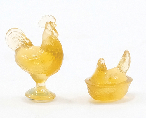 Dollhouse Miniature Rooster/Hen Candy Dishes, Amber