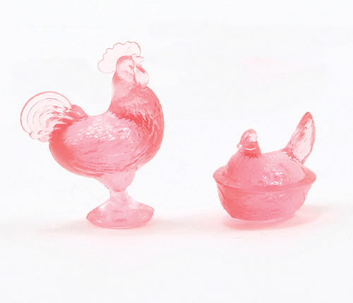 Dollhouse Miniature Rooster/Hen Candy Dishes, Pink