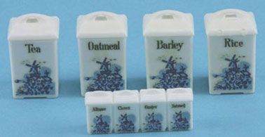 Dollhouse Miniature Delft Canisters