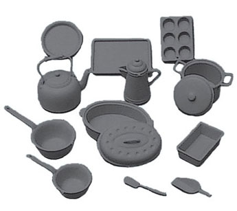 Dollhouse Miniature Cookware Kit, Black, 14 Pcs.