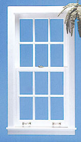 Dollhouse Miniature Double Hung Window with Mullions