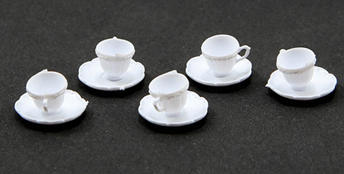 Dollhouse Miniature Cups And Saucers/White, 24Pc