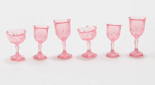 Dollhouse Miniature Cut Stemware, Pink, 6/Pc