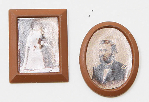 Dollhouse Miniature Brown Framed Sepia Photos, 2/Pc