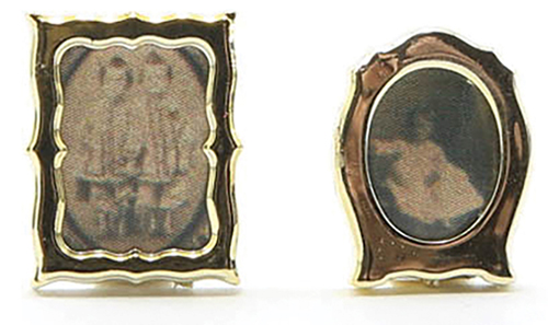Dollhouse Miniature Gold Frames W/Photos