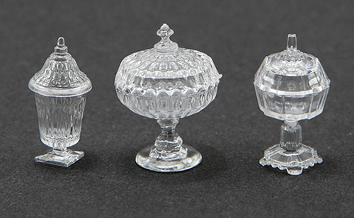 Dollhouse Miniature Candy Dishes, 3Pc, Clear