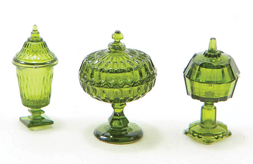 Dollhouse Miniature Candy Dishes, 3Pc, Emerald Green