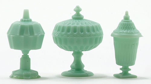 Dollhouse Miniature Candy Dish Set, 3Pc Jadeite
