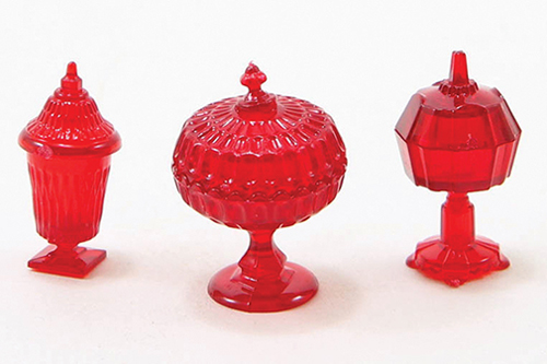 Dollhouse Miniature Candy Dishes, 3Pc, Red