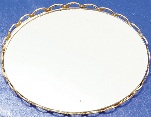 Dollhouse Miniature Large Mirrored Tray-Gold