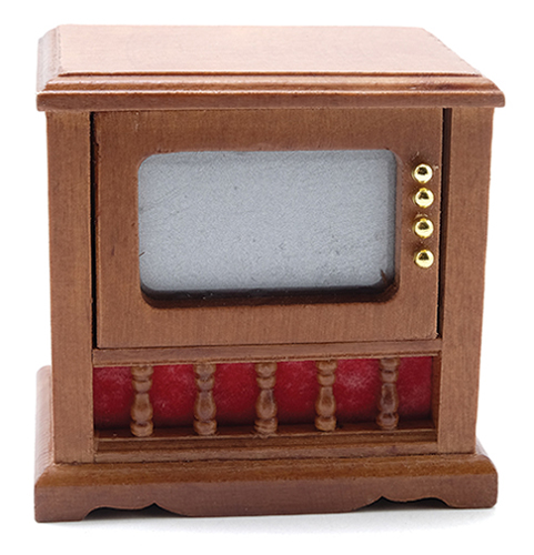 Dollhouse Miniature Television, Walnut