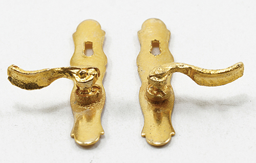 Dollhouse Miniature French Door (Lever) Handles, 1 Pair