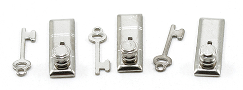 "1/2"" Scale Door Knob, Keyplate/Key, 6Pk, Satin Nick"