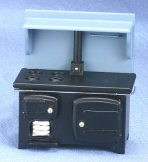 Dollhouse Miniature Coal Stove, Black