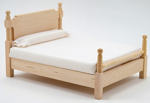 Dollhouse Miniature Bed, Unfinished