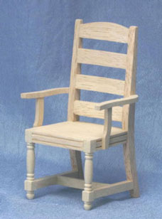 Dollhouse Miniature Ladder Back Armchair, Unfinished