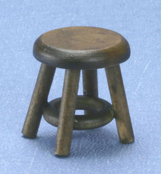 Dollhouse Miniature Stool, Walnut