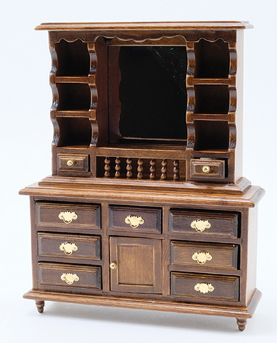 Dollhouse Miniature Dresser With Mirror, Walnut