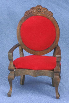 Dollhouse Miniature Mirror back Armchair, Red