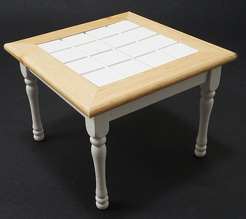 Dollhouse Miniature Table, Oak/White