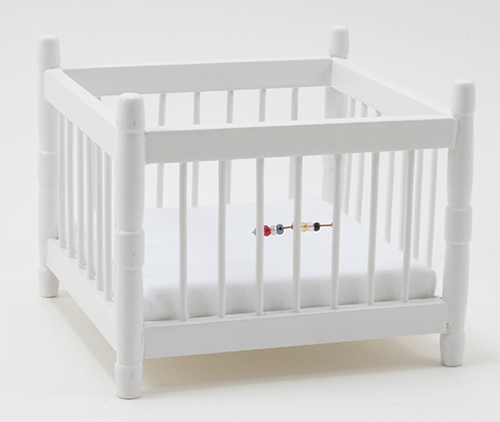 Dollhouse Miniature Play Pen, White