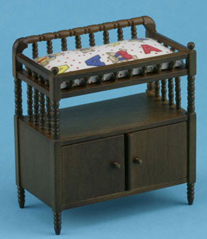 Dollhouse Miniature Changing Table, Walnut