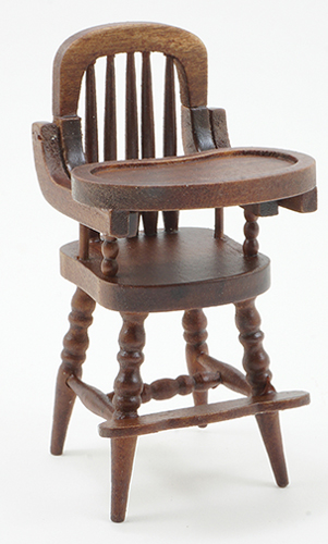 Dollhouse Miniature High Chair, Walnut