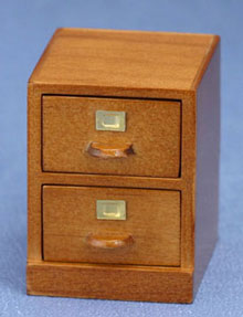 Dollhouse Miniature File Cabinet, 2-Drawer, Walnut