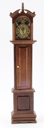 Dollhouse Miniature Grandfather Clock, Walnut