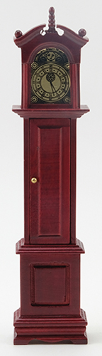 Dollhouse Miniature Grandfather Clock, Mahogany