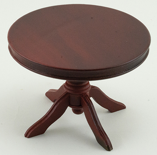 Dollhouse Miniature Round Pedestal Table, Mahogany