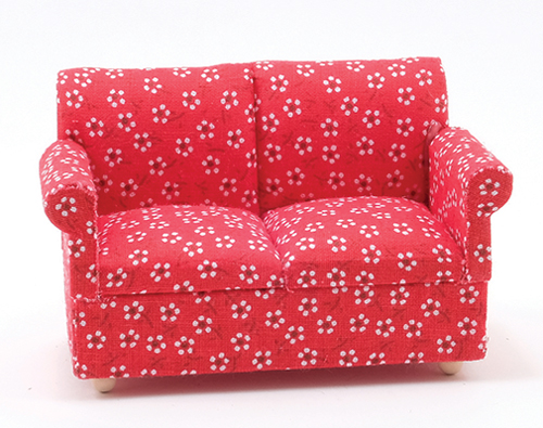Dollhouse Miniature Loveseat, Red