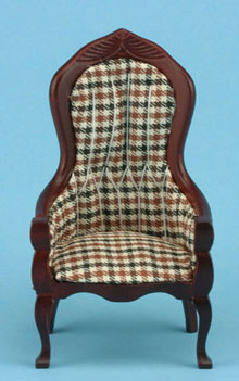 Dollhouse Miniature Victorian Gent's Chair, Mahogany, Plaid Fabric