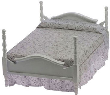Dollhouse Miniature Double Bed, White